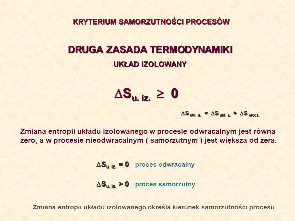 Zmiana entropii układu izolowanego określa kierunek samorzutności procesu DRUGA ZASADA TERMODYNAMIKI UKŁAD IZOLOWANY KRYTERIUM SAMORZUTNOŚCI PROCESÓW