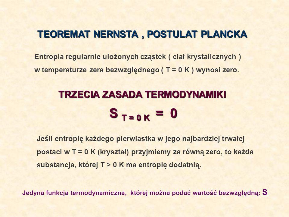 TEOREMAT NERNSTA, POSTULAT PLANCKA TRZECIA ZASADA TERMODYNAMIKI S T = 0 K = 0 Jeśli entropię każdego pierwiastka w jego najbardziej trwałej postaci w