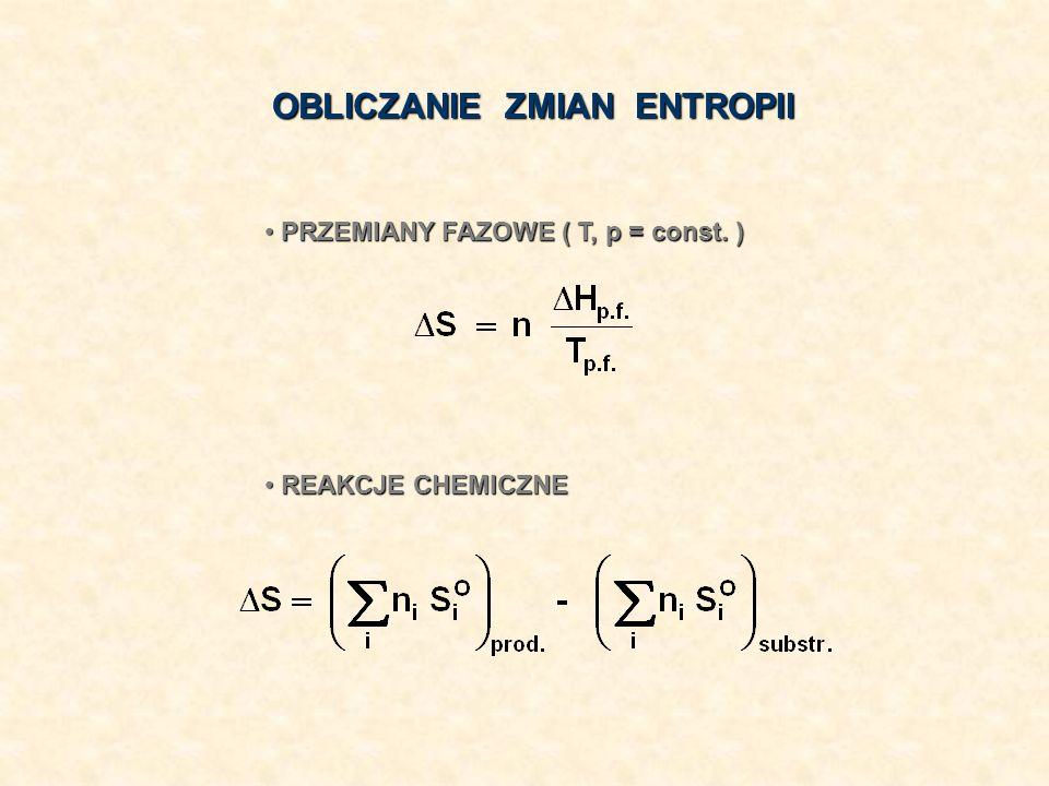 OBLICZANIE ZMIAN ENTROPII PRZEMIANY FAZOWE ( T, p = const. ) PRZEMIANY FAZOWE ( T, p = const. ) REAKCJE CHEMICZNE REAKCJE CHEMICZNE