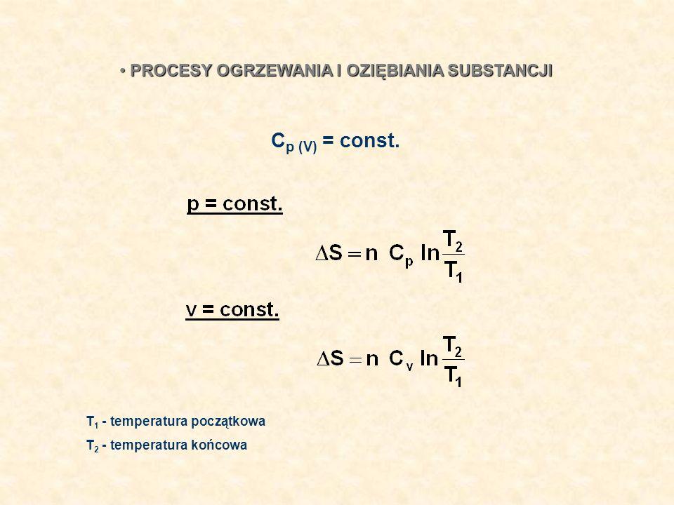 PROCESY OGRZEWANIA I OZIĘBIANIA SUBSTANCJI PROCESY OGRZEWANIA I OZIĘBIANIA SUBSTANCJI T 1 - temperatura początkowa T 2 - temperatura końcowa C p (V) =