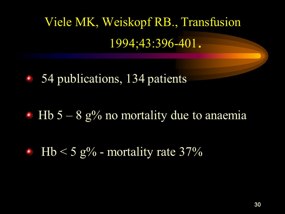 29 Conclusion 2 The clinical scenario and individual patient conditions are decision making factors not the Hb level