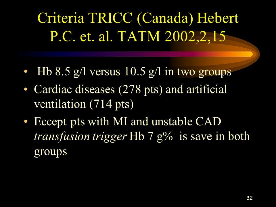 31 Hebert PC. et al., JAMA 1999; 340: 409-417 Group I - transfusion restriction (n=418) Hb 7 - 9 g% mortality: 77 pts (18%) Grupa II – liberal strateg