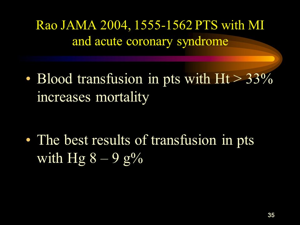 34 Pts > 65 year with MI treated nonivasively Wu W.C. et al.NEJM 2001,345,1230-36 79 000 pts: Low Ht at admission– increase mortality Ht 30-33% + tran