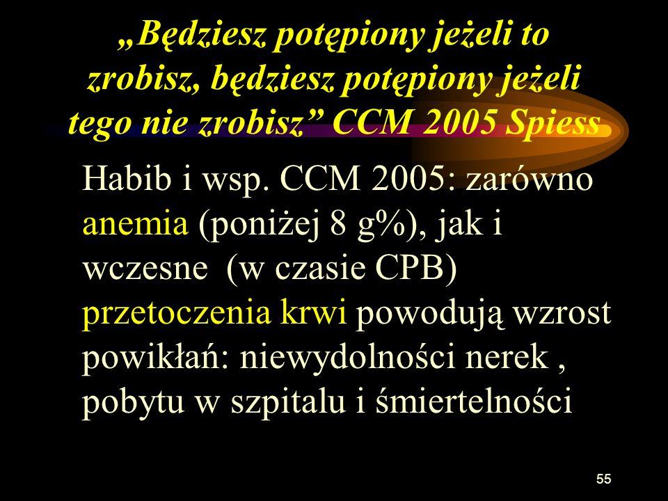 54 Badania wpływu anemii na ochotnikach Weiskopf RB i wsp. JAMA 1998; 279:217-221 Przytomni, zdrowi pacjenci przed zabiegiem chirurgicznym (n=11) + zd
