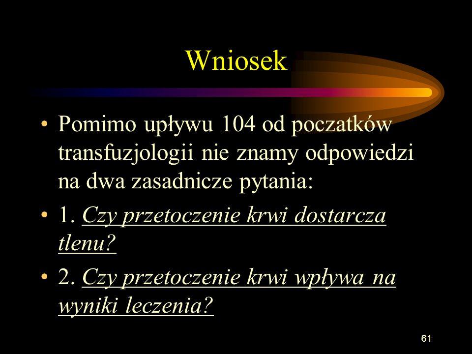 60 Cena krwi Od stycznia 1999 roku odpłatność za krew Koszty RCKiK/ilość jednostek dostarczana= cena W Polsce pobiera się ok. 780 000 jednostek krwi r