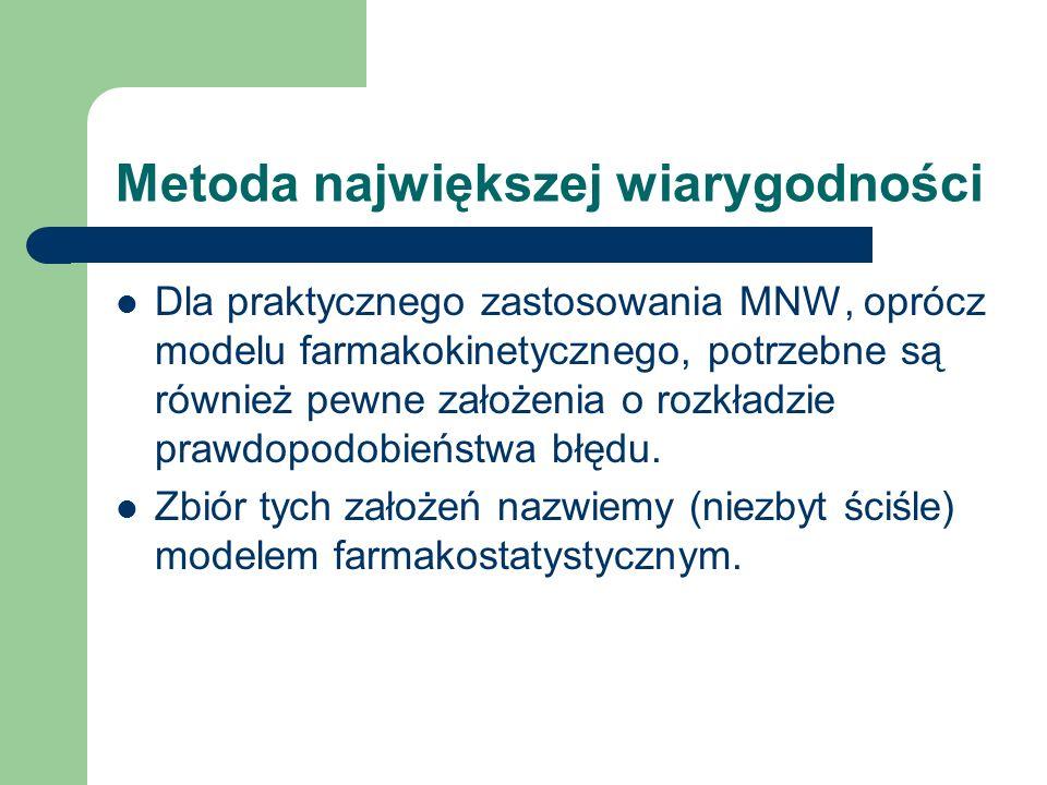 Metoda największej wiarygodności Dla praktycznego zastosowania MNW, oprócz modelu farmakokinetycznego, potrzebne są również pewne założenia o rozkładz