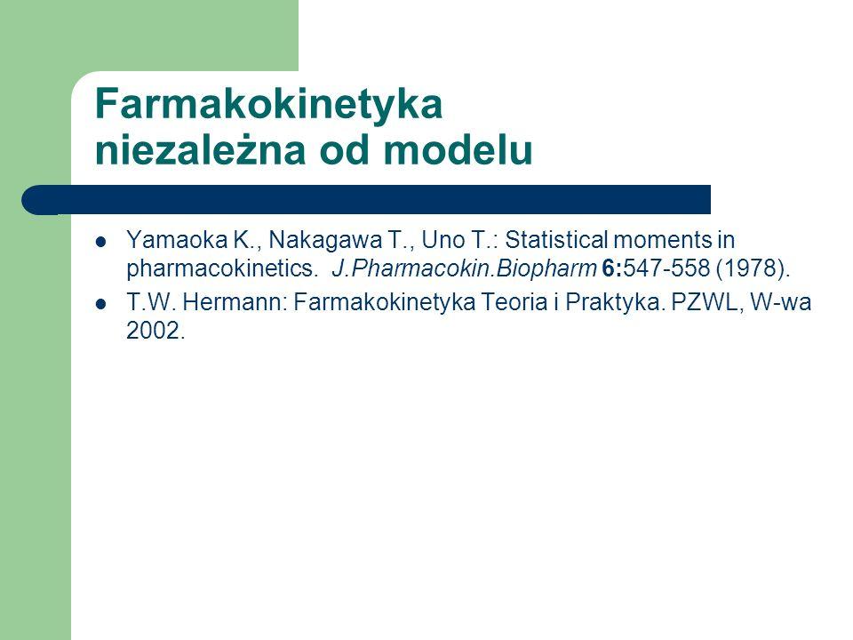 Farmakokinetyka niezależna od modelu Yamaoka K., Nakagawa T., Uno T.: Statistical moments in pharmacokinetics. J.Pharmacokin.Biopharm 6:547-558 (1978)