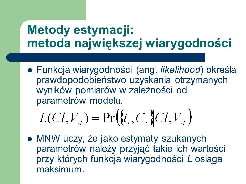 Metody estymacji: metoda największej wiarygodności Funkcja wiarygodności (ang. likelihood) określa prawdopodobieństwo uzyskania otrzymanych wyników po