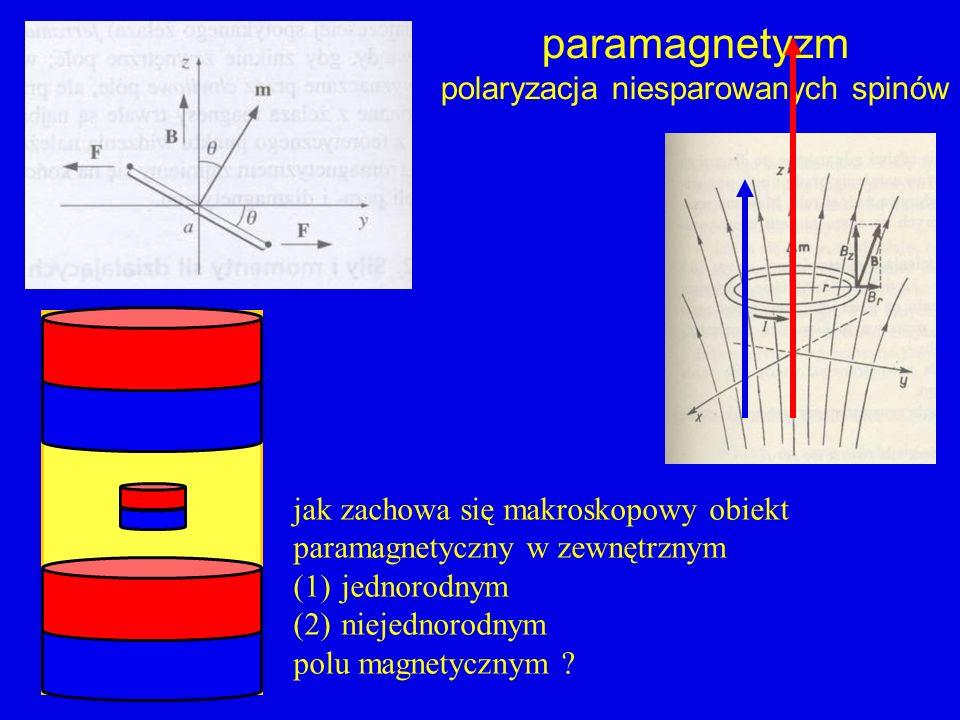 paramagnetyzm polaryzacja niesparowanych spinów jak zachowa się makroskopowy obiekt paramagnetyczny w zewnętrznym (1)jednorodnym (2)niejednorodnym pol