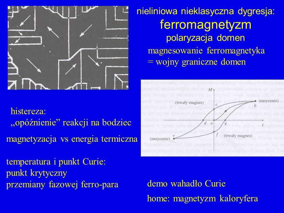 histereza: opóźnienie reakcji na bodziec nieliniowa nieklasyczna dygresja: ferromagnetyzm polaryzacja domen magnesowanie ferromagnetyka = wojny granic
