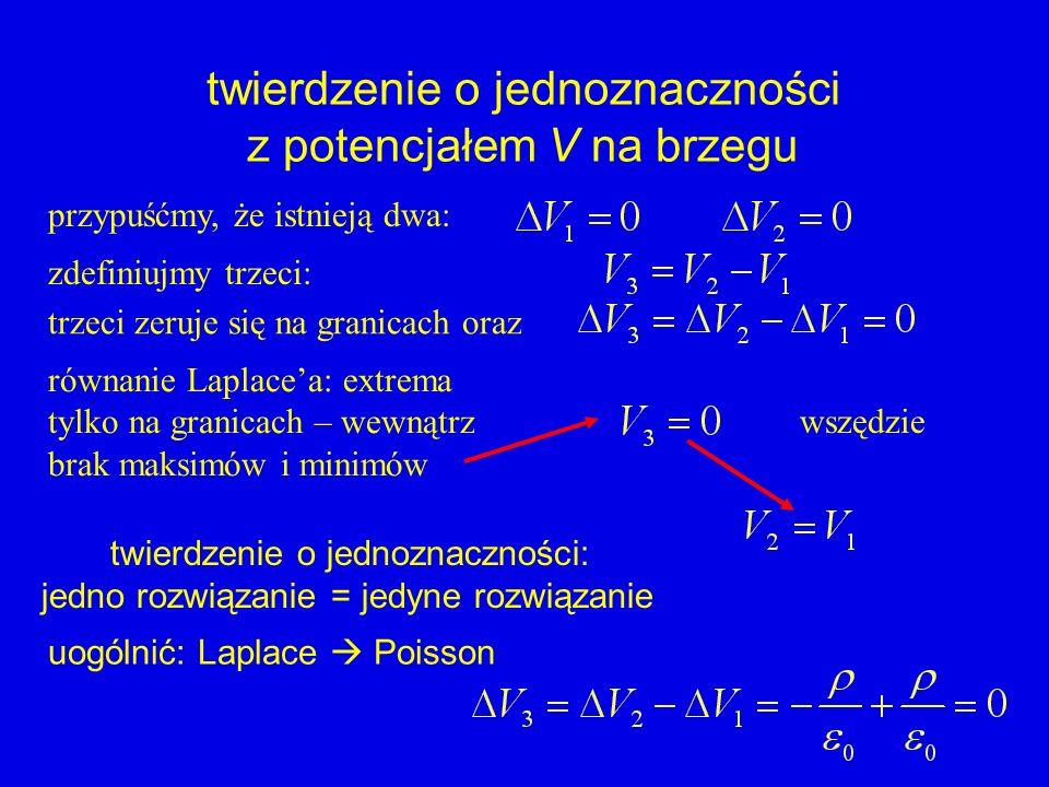 twierdzenie o jednoznaczności z potencjałem V na brzegu przypuśćmy, że istnieją dwa: zdefiniujmy trzeci: trzeci zeruje się na granicach oraz równanie
