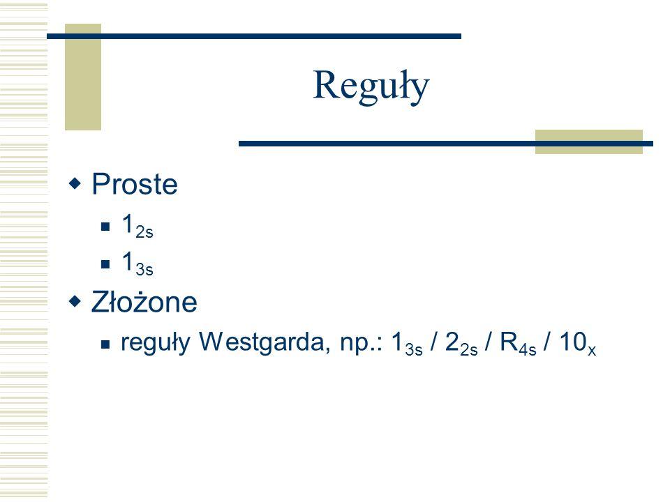 Reguły Proste 1 2s 1 3s Złożone reguły Westgarda, np.: 1 3s / 2 2s / R 4s / 10 x