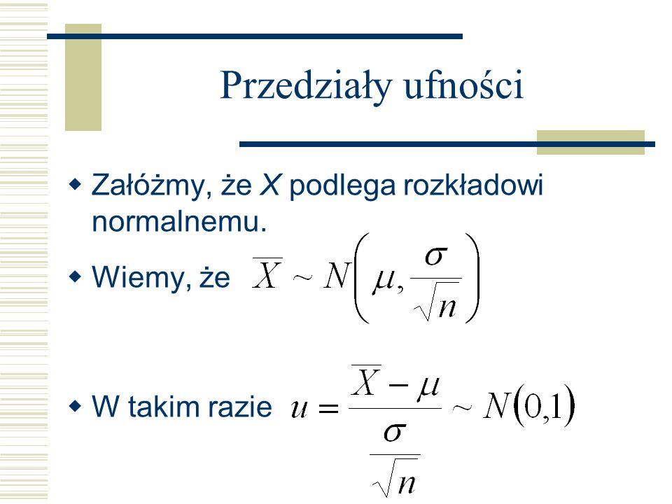 Przedziały ufności Załóżmy, że X podlega rozkładowi normalnemu. Wiemy, że W takim razie