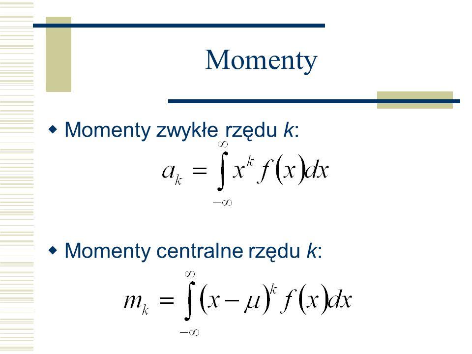 Momenty Momenty zwykłe rzędu k: Momenty centralne rzędu k: