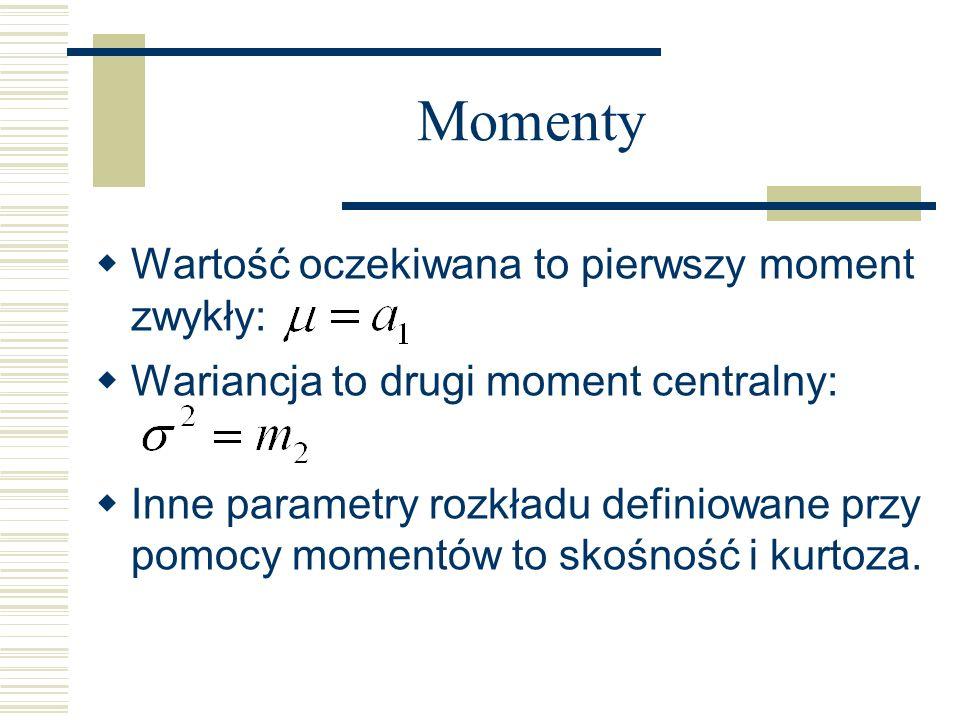 Momenty Wartość oczekiwana to pierwszy moment zwykły: Wariancja to drugi moment centralny: Inne parametry rozkładu definiowane przy pomocy momentów to