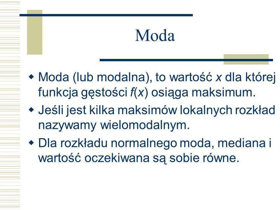 Moda Moda (lub modalna), to wartość x dla której funkcja gęstości f(x) osiąga maksimum. Jeśli jest kilka maksimów lokalnych rozkład nazywamy wielomoda