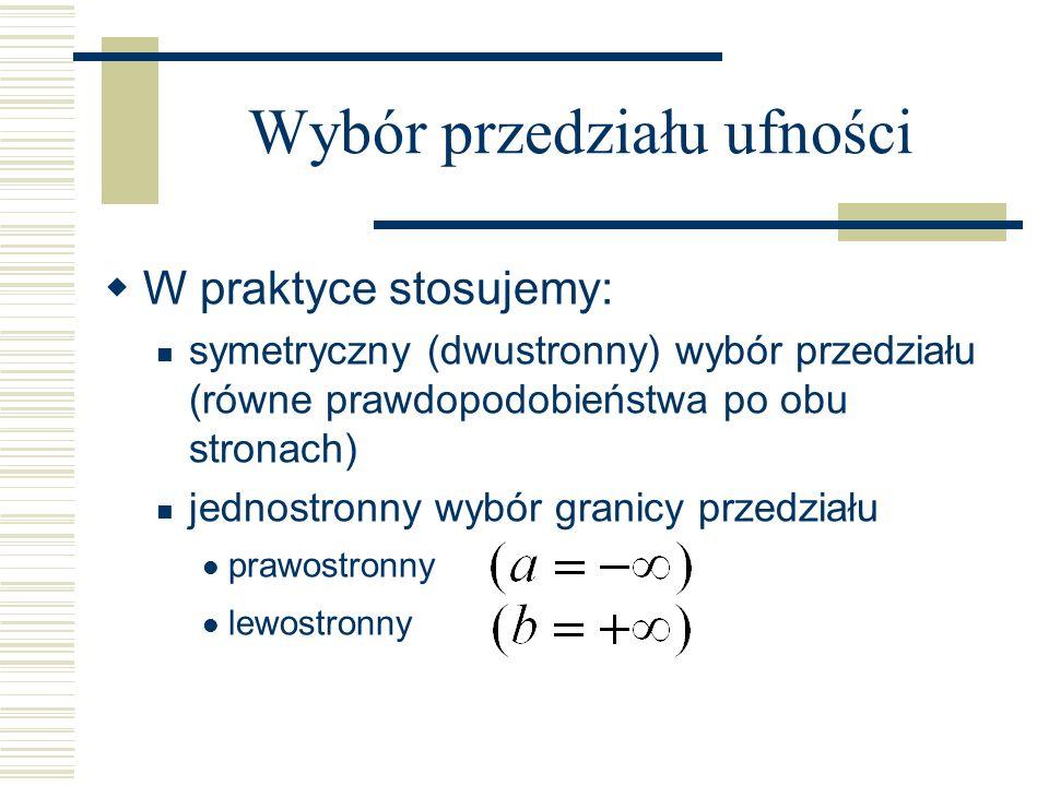 W praktyce stosujemy: symetryczny (dwustronny) wybór przedziału (równe prawdopodobieństwa po obu stronach) jednostronny wybór granicy przedziału prawo