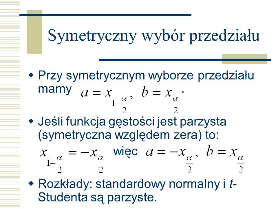 Symetryczny wybór przedziału Przy symetrycznym wyborze przedziału mamy. Jeśli funkcja gęstości jest parzysta (symetryczna względem zera) to: więc Rozk