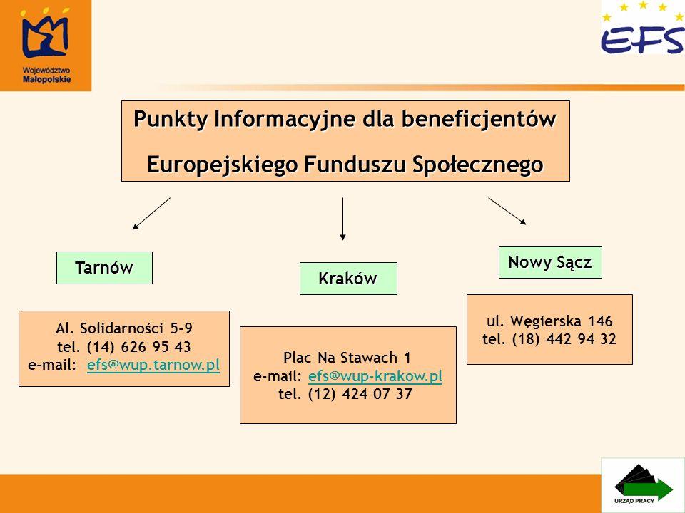 Punkty Informacyjne dla beneficjentów Europejskiego Funduszu Społecznego Plac Na Stawach 1 e-mail: efs@wup-krakow.pl tel. (12) 424 07 37efs@wup-krakow