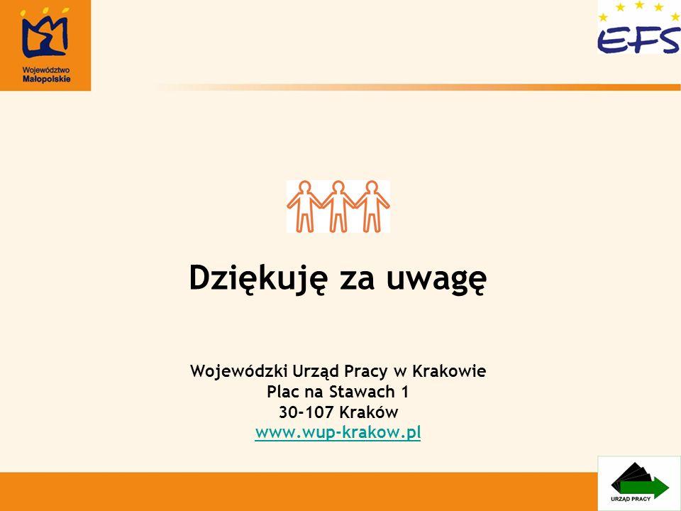 Dziękuję za uwagę Wojewódzki Urząd Pracy w Krakowie Plac na Stawach 1 30-107 Kraków www.wup-krakow.pl