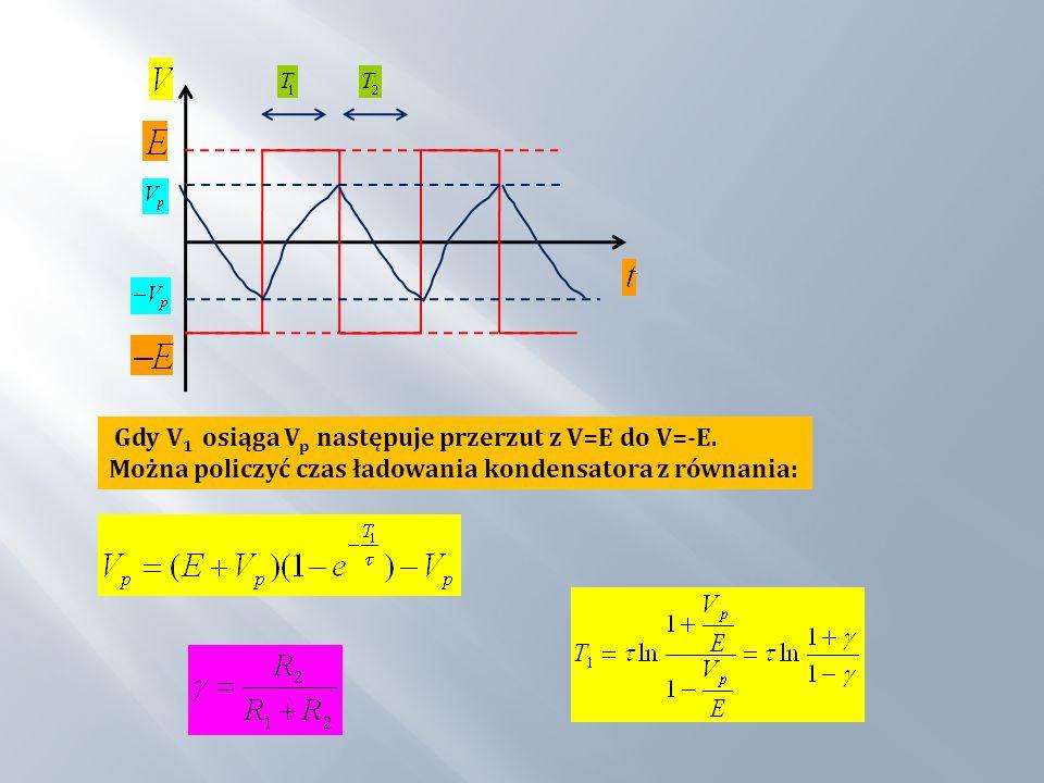 Gdy V 1 osiąga V p następuje przerzut z V=E do V=-E. Można policzyć czas ładowania kondensatora z równania: