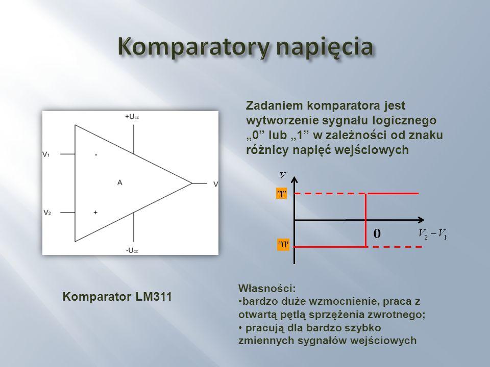 Zadaniem komparatora jest wytworzenie sygnału logicznego 0 lub 1 w zależności od znaku różnicy napięć wejściowych Komparator LM311 Własności: bardzo d