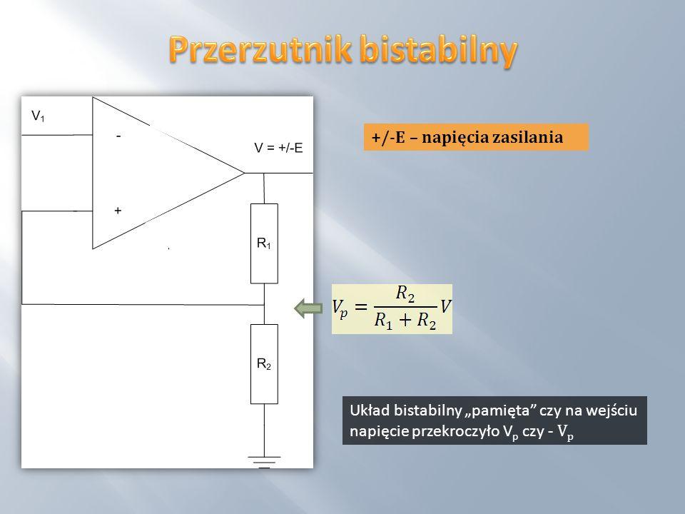 Układ bistabilny pamięta czy na wejściu napięcie przekroczyło V p czy - V p +/-E – napięcia zasilania