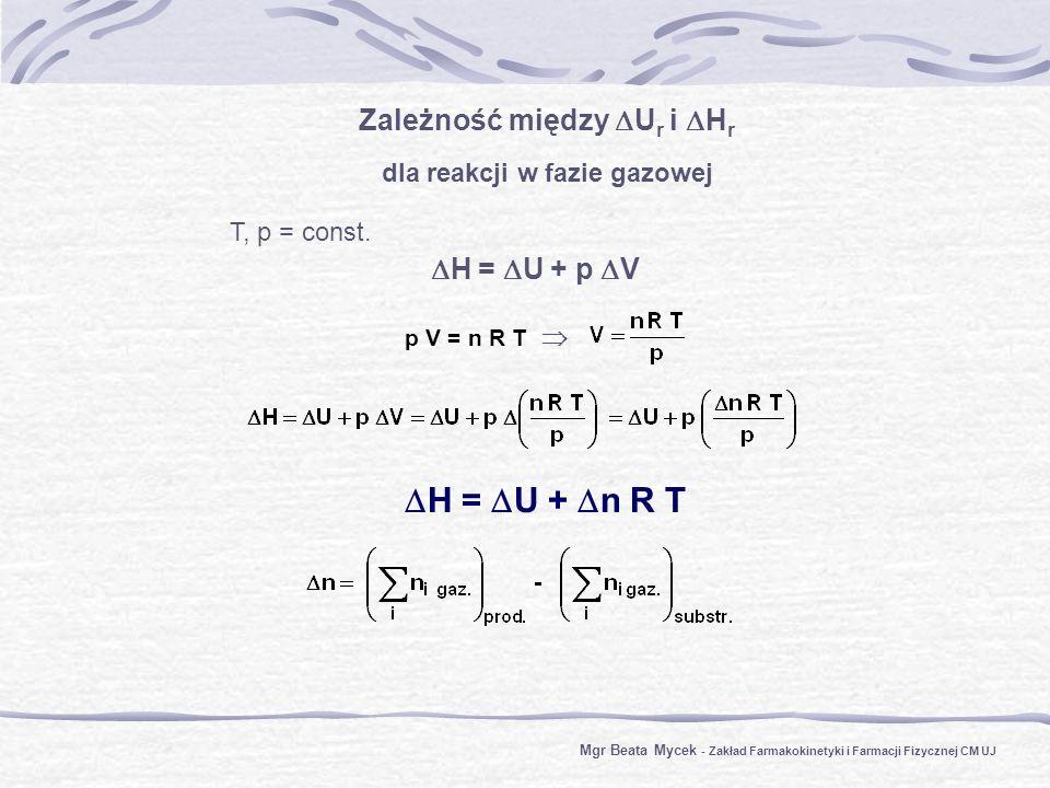 Zależność między U r i H r dla reakcji w fazie gazowej T, p = const.