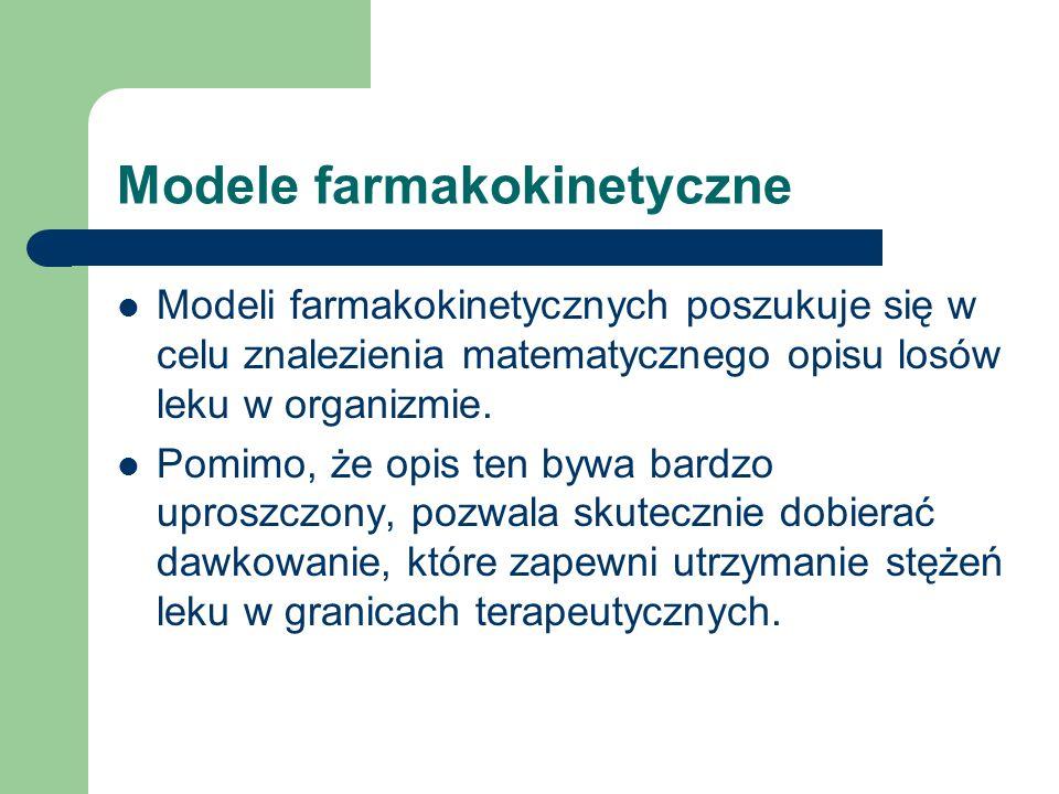 Modele farmakokinetyczne Modeli farmakokinetycznych poszukuje się w celu znalezienia matematycznego opisu losów leku w organizmie. Pomimo, że opis ten