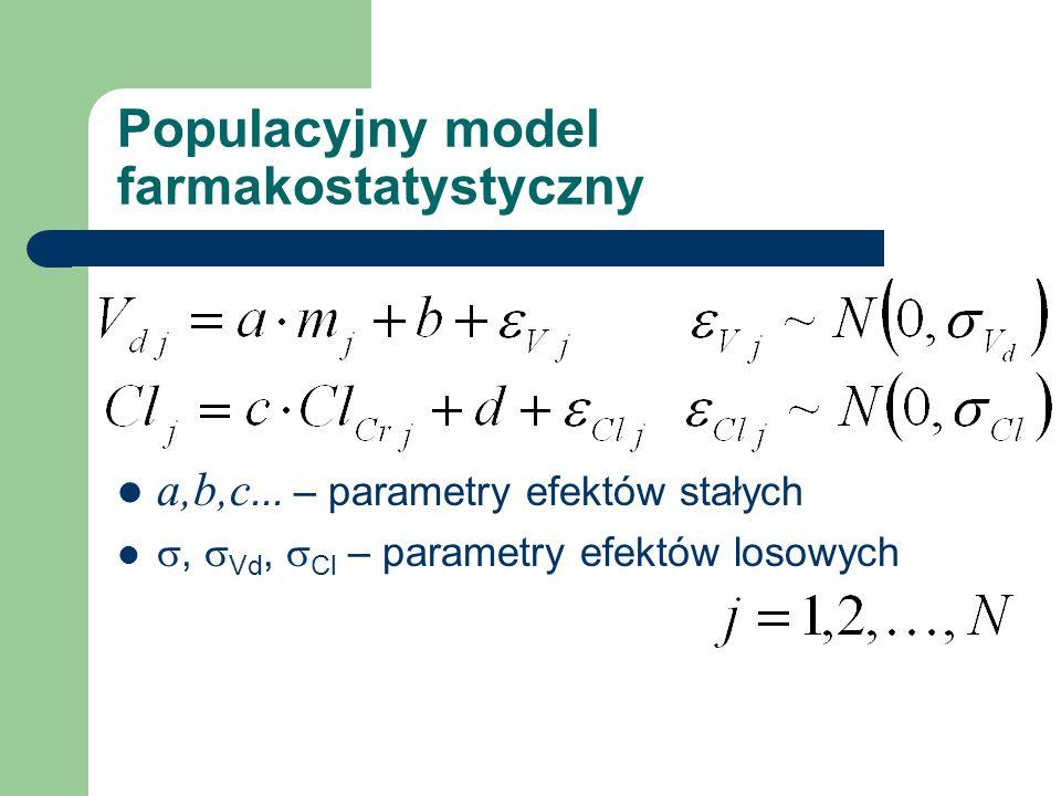Populacyjny model farmakostatystyczny a,b,c... – parametry efektów stałych, Vd, Cl – parametry efektów losowych