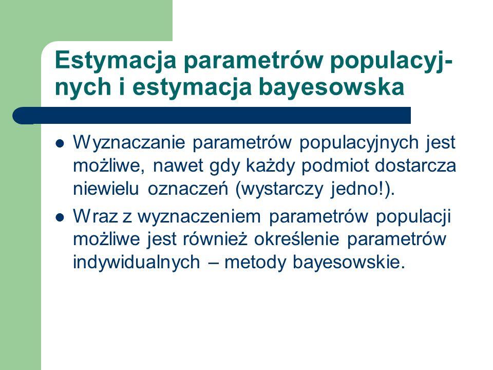 Estymacja parametrów populacyjnych Modelowanie efektów mieszanych – MEM – program NONMEM (Sheiner & Beal, UCSF) Symulacje Monte Carlo łańcuchów Markowa (MCMC) – program PKBugs (Spiegelhalter, ICSTM, UK) Metody nieparametryczne (NPEM) – program USC*PACK (Schumitzky, dArgenio, USC)