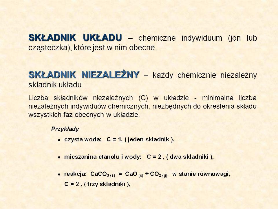 SKŁADNIK UKŁADU SKŁADNIK UKŁADU – chemiczne indywiduum (jon lub cząsteczka), które jest w nim obecne. SKŁADNIK NIEZALEŻNY SKŁADNIK NIEZALEŻNY – każdy