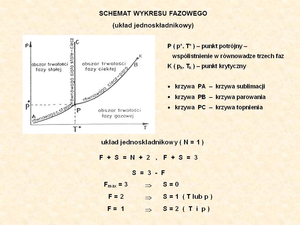 SCHEMAT WYKRESU FAZOWEGO (układ jednoskładnikowy)