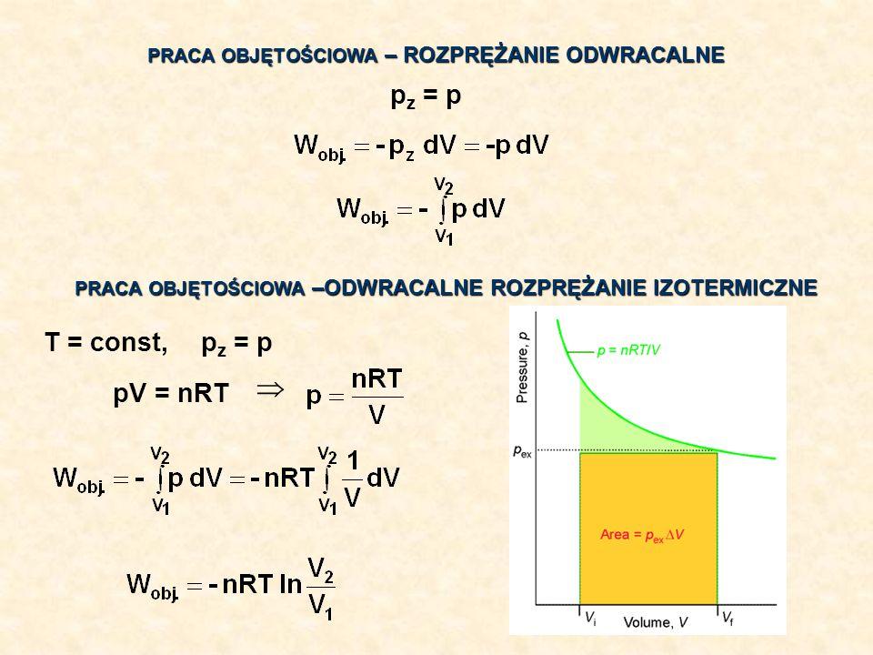 PRACA OBJĘTOŚCIOWA – ROZPRĘŻANIE ODWRACALNE p z = p PRACA OBJĘTOŚCIOWA –ODWRACALNE ROZPRĘŻANIE IZOTERMICZNE p z = pT = const, pV = nRT
