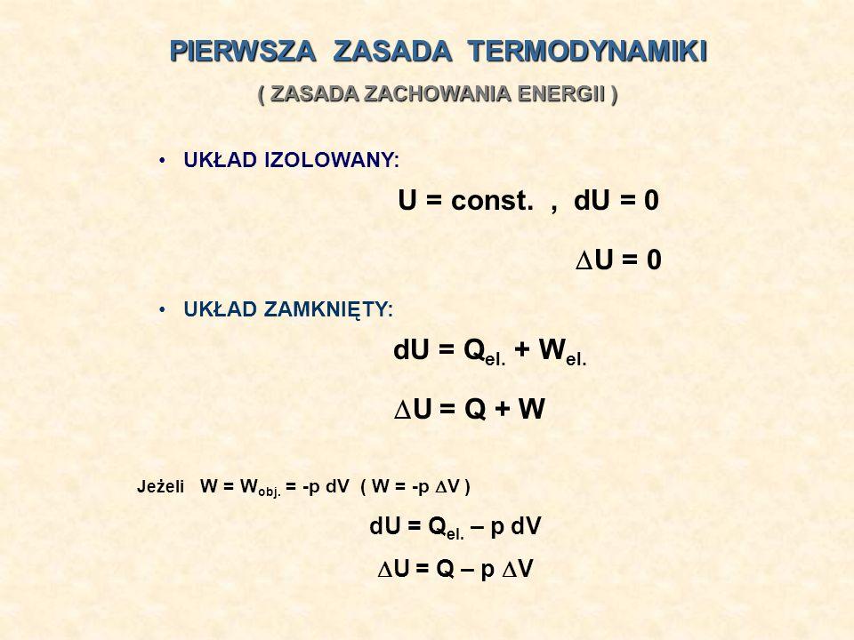 UKŁAD IZOLOWANY: U = const., dU = 0 U = 0 PIERWSZA ZASADA TERMODYNAMIKI ( ZASADA ZACHOWANIA ENERGII ) Jeżeli W = W obj. = -p dV ( W = -p V ) dU = Q el