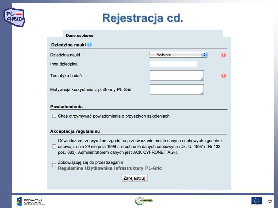 Rejestracja cd. 32