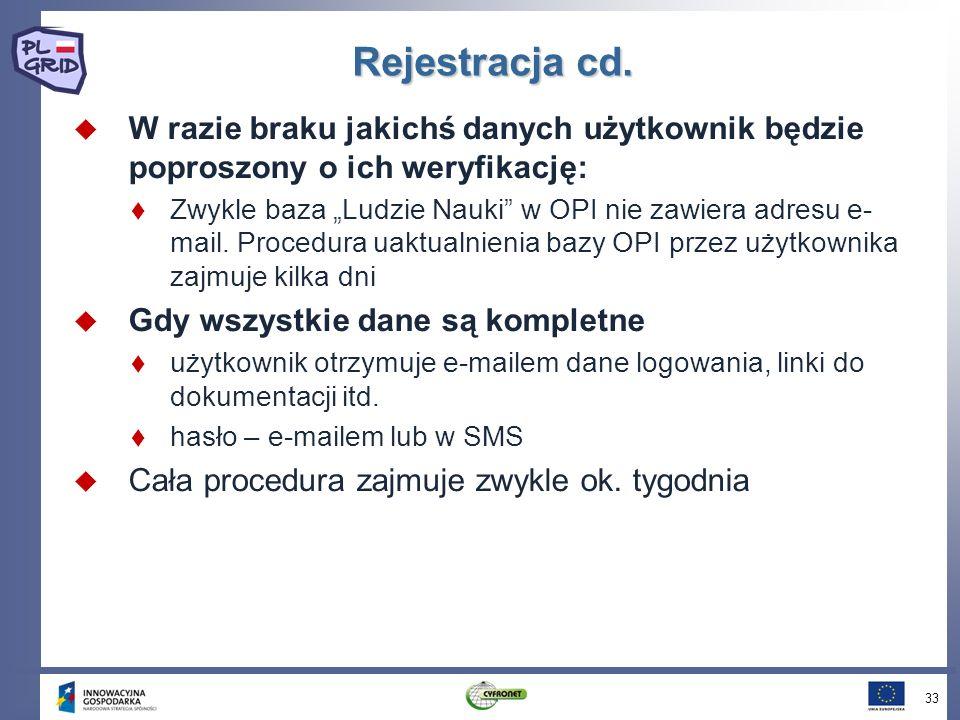 Rejestracja cd.