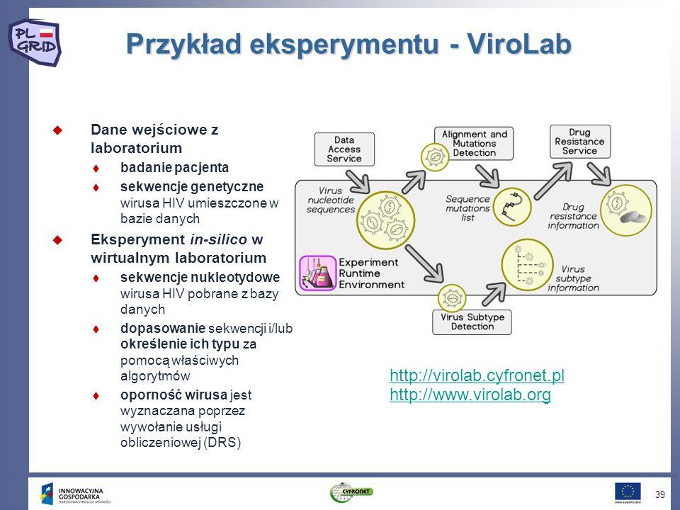 Przykład eksperymentu - ViroLab Dane wejściowe z laboratorium badanie pacjenta sekwencje genetyczne wirusa HIV umieszczone w bazie danych Eksperyment in-silico w wirtualnym laboratorium sekwencje nukleotydowe wirusa HIV pobrane z bazy danych dopasowanie sekwencji i/lub określenie ich typu za pomocą właściwych algorytmów oporność wirusa jest wyznaczana poprzez wywołanie usługi obliczeniowej (DRS) 39 http://virolab.cyfronet.pl http://www.virolab.org