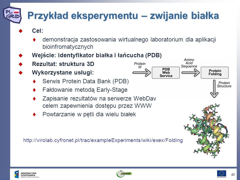 Przykład eksperymentu – zwijanie białka Cel: demonstracja zastosowania wirtualnego laboratorium dla aplikacji bioinfromatycznych Wejście: identyfikator białka i łańcucha (PDB) Rezultat: struktura 3D Wykorzystane usługi: Serwis Protein Data Bank (PDB) Fałdowanie metodą Early-Stage Zapisanie rezultatów na serwerze WebDav celem zapewnienia dostępu przez WWW Powtarzanie w pętli dla wielu białek 40 http://virolab.cyfronet.pl/trac/exampleExperiments/wiki/exex/Folding