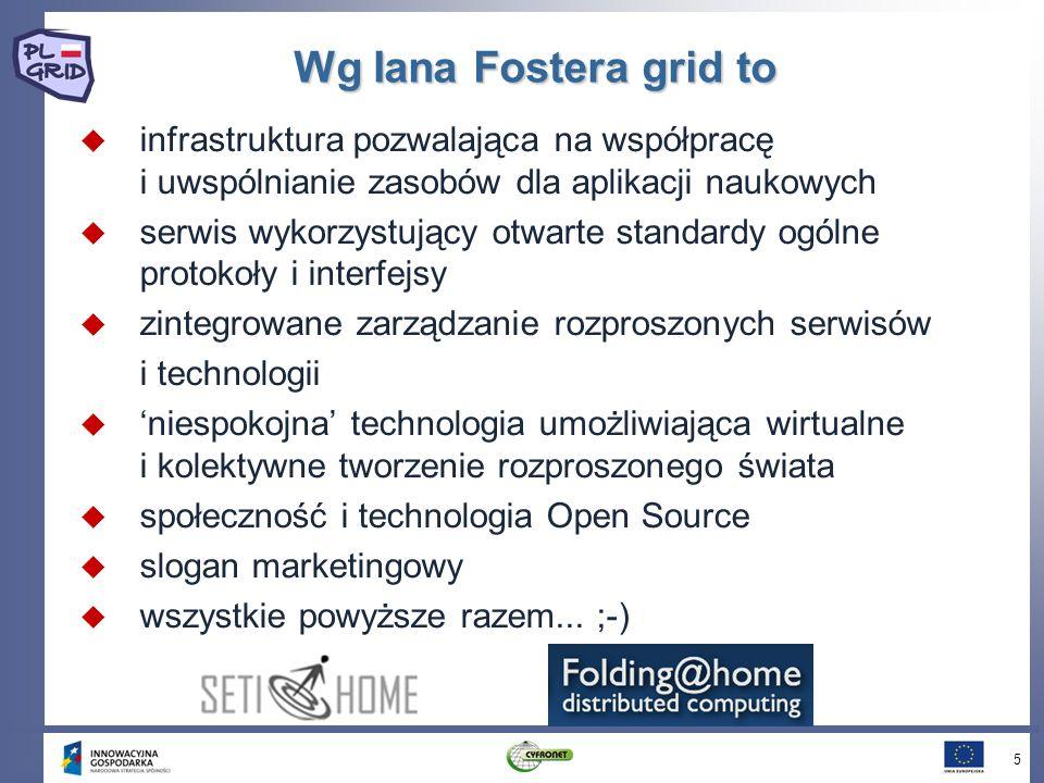 Wg Iana Fostera grid to infrastruktura pozwalająca na współpracę i uwspólnianie zasobów dla aplikacji naukowych serwis wykorzystujący otwarte standardy ogólne protokoły i interfejsy zintegrowane zarządzanie rozproszonych serwisów i technologii niespokojna technologia umożliwiająca wirtualne i kolektywne tworzenie rozproszonego świata społeczność i technologia Open Source slogan marketingowy wszystkie powyższe razem...