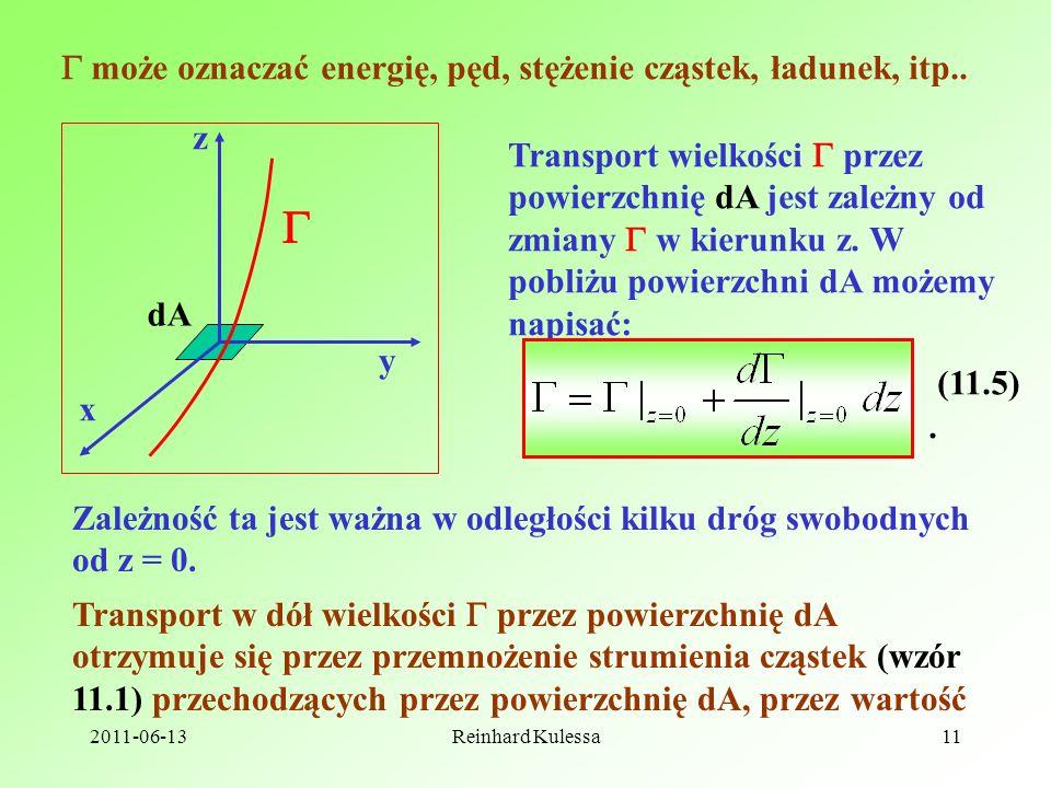 2011-06-13Reinhard Kulessa11 może oznaczać energię, pęd, stężenie cząstek, ładunek, itp.. z x y Transport wielkości przez powierzchnię dA jest zależny
