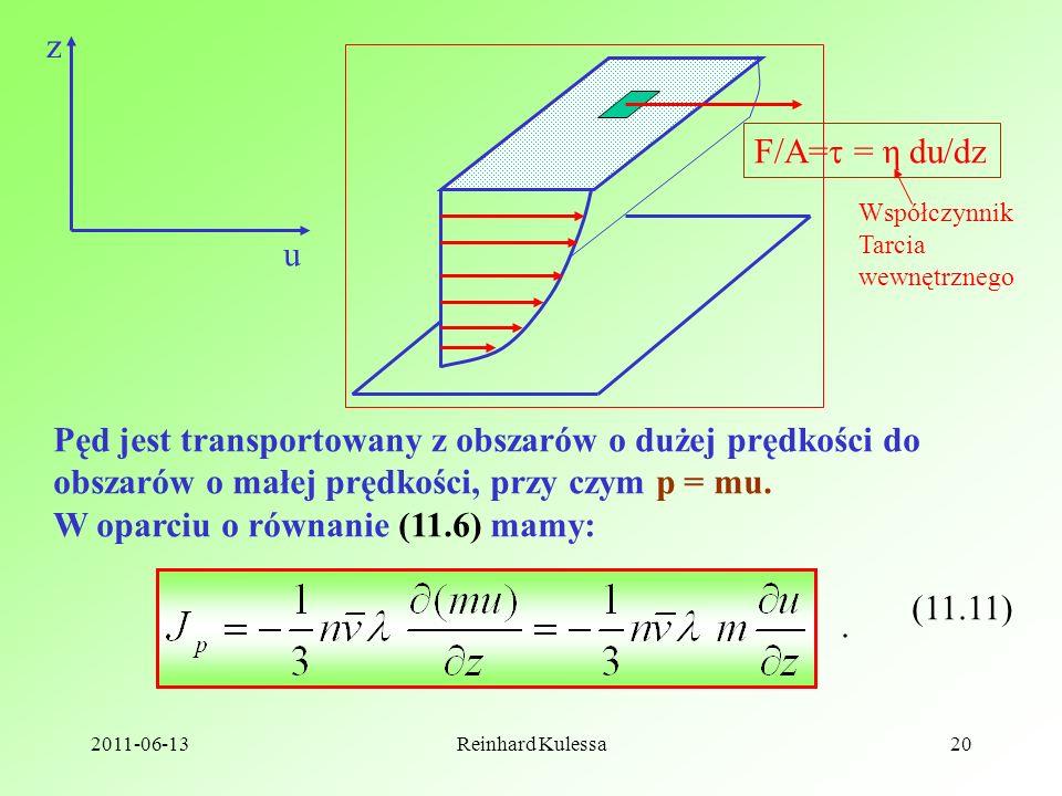 2011-06-13Reinhard Kulessa20 z u F/A= = η du/dz Pęd jest transportowany z obszarów o dużej prędkości do obszarów o małej prędkości, przy czym p = mu.