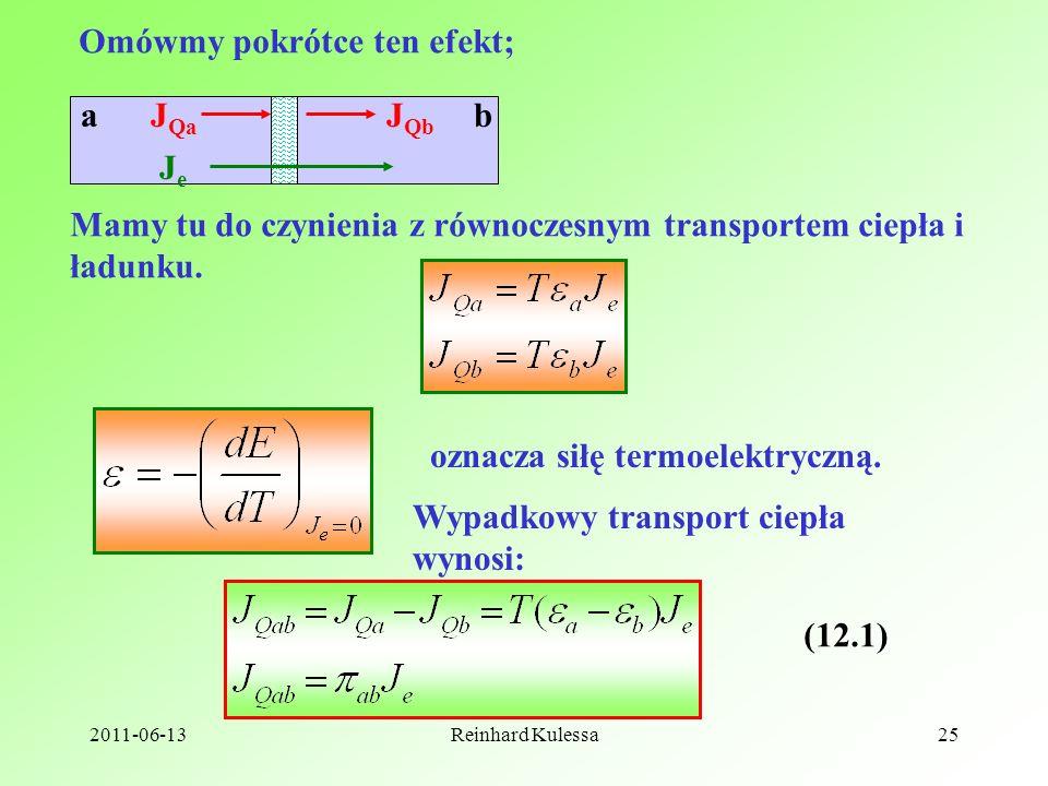 2011-06-13Reinhard Kulessa25 Omówmy pokrótce ten efekt; abJ Qa J Qb JeJe Mamy tu do czynienia z równoczesnym transportem ciepła i ładunku. oznacza sił