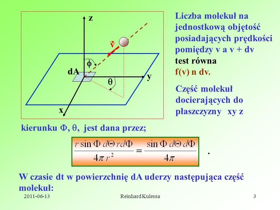 2011-06-13Reinhard Kulessa3 x y z dA v Liczba molekuł na jednostkową objętość posiadających prędkości pomiędzy v a v + dv test równa f(v) n dv. Część
