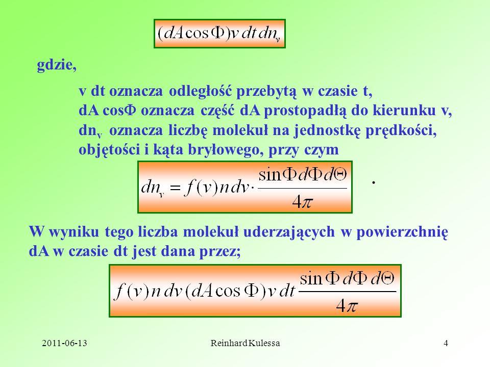 2011-06-13Reinhard Kulessa4 gdzie, v dt oznacza odległość przebytą w czasie t, dA cos oznacza część dA prostopadłą do kierunku v, dn v oznacza liczbę