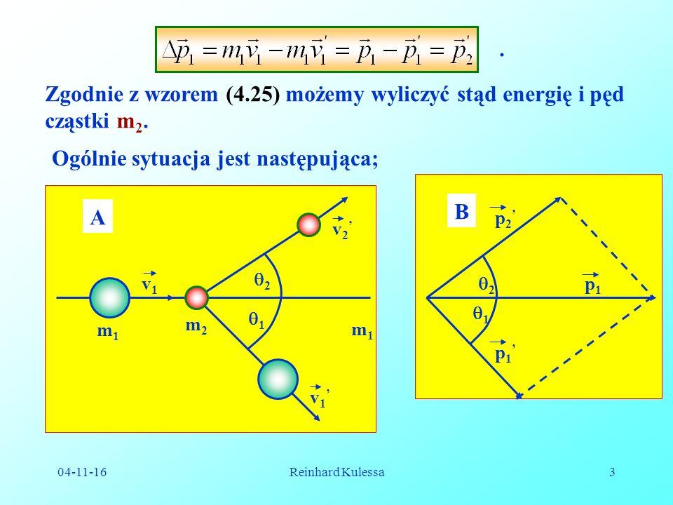 04-11-16Reinhard Kulessa3. Zgodnie z wzorem (4.25) możemy wyliczyć stąd energię i pęd cząstki m 2.