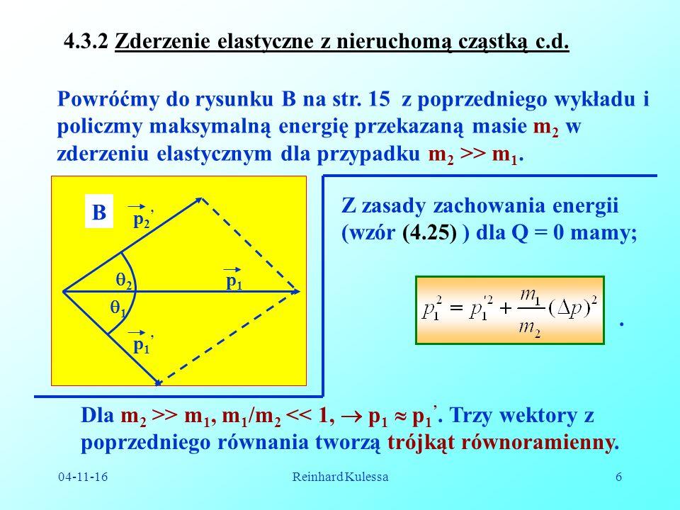 04-11-16Reinhard Kulessa17 Układ środka masy możemy przedstawić następująco: Zgodnie z r.
