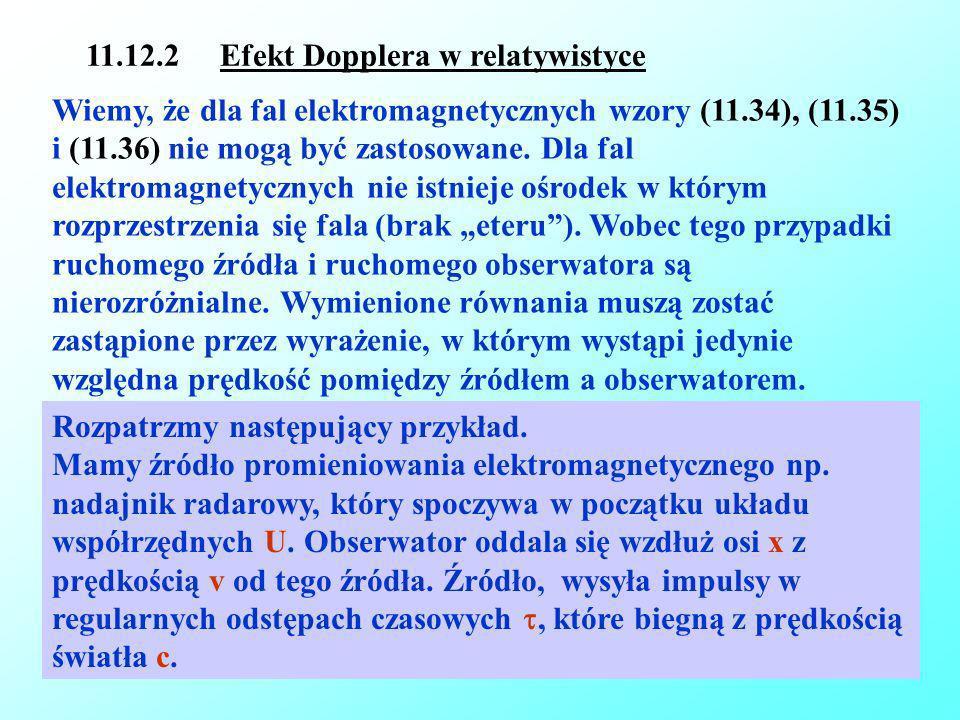 16-01-2009Reinhard Kulessa14 11.12.2 Efekt Dopplera w relatywistyce Wiemy, że dla fal elektromagnetycznych wzory (11.34), (11.35) i (11.36) nie mogą b