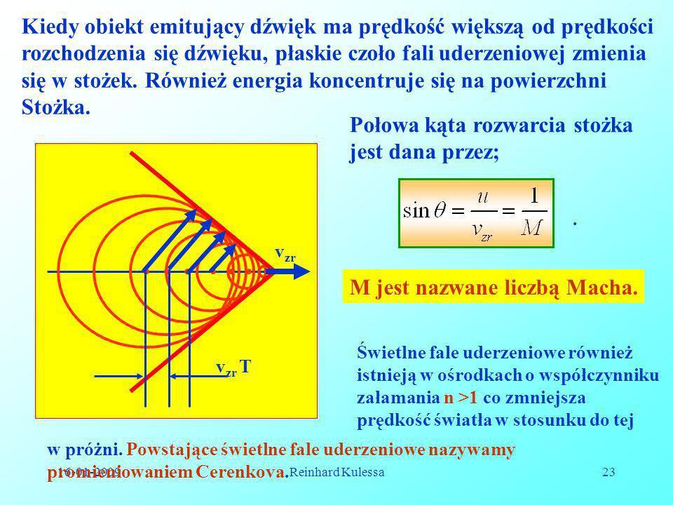 16-01-2009Reinhard Kulessa23 Kiedy obiekt emitujący dźwięk ma prędkość większą od prędkości rozchodzenia się dźwięku, płaskie czoło fali uderzeniowej