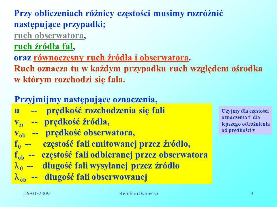 16-01-2009Reinhard Kulessa3 Przyjmijmy następujące oznaczenia, u -- prędkość rozchodzenia się fali v zr -- prędkość źródła, v ob -- prędkość obserwato